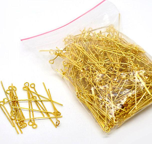 Gold Tone Eye Pins - 35mm - 400 Pieces - PIN32