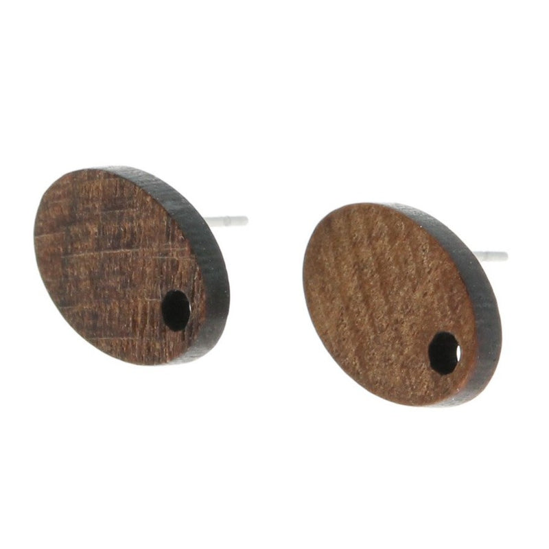 Wood Stainless Steel Earrings - Geometric Drop Studs - 15mm x 10mm - 2 Pieces 1 Pair - ER122