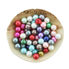 Round Glass Beads 10mm - Assorted Pearl Rainbow - 100 Beads - BD2435