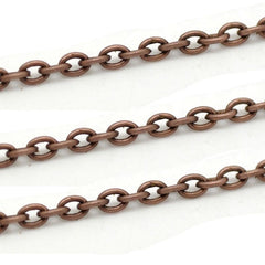 Bulk Antique Copper Tone Cable Chain 32ft - 2mm - FD029