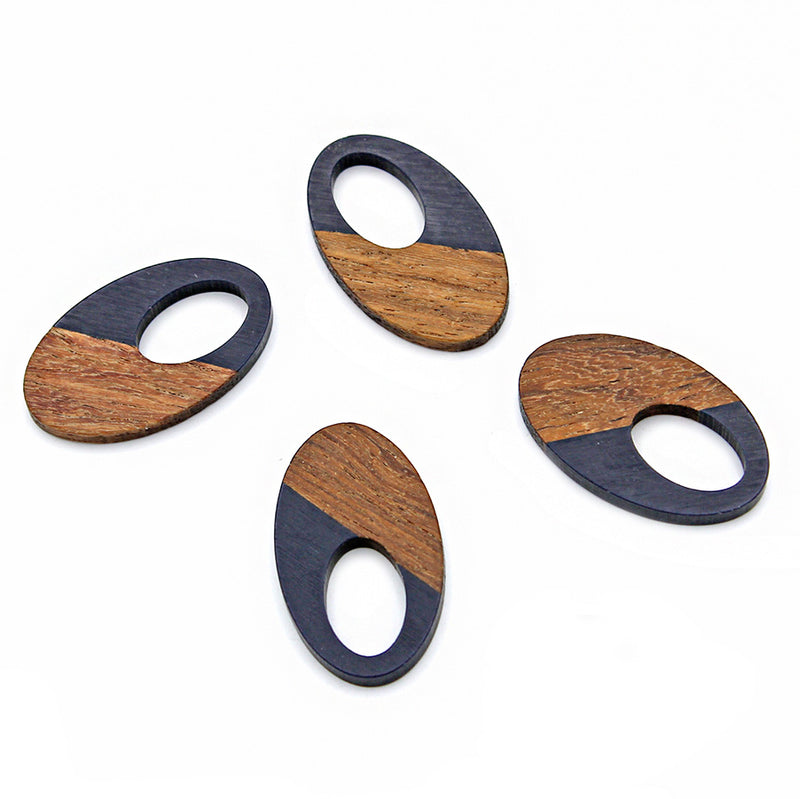 Oval Natural Wood and Navy Resin Charm 35mm - WP015