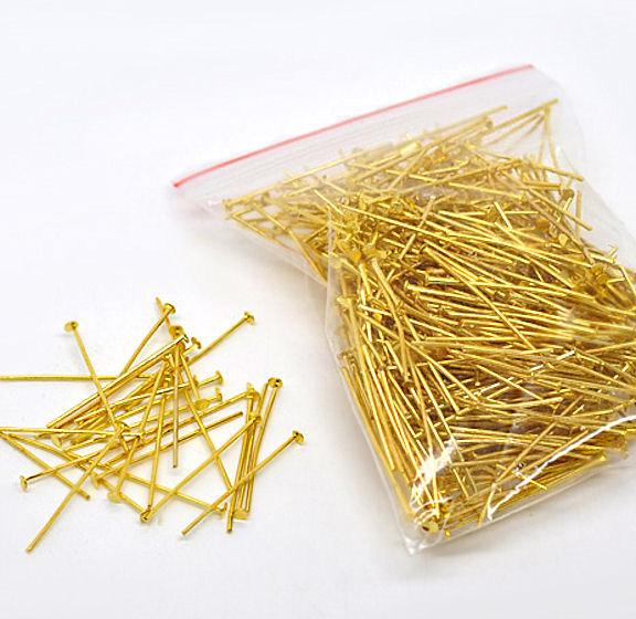 Gold Tone Flat Head Pins - 30cm - 450 Pieces - PIN28