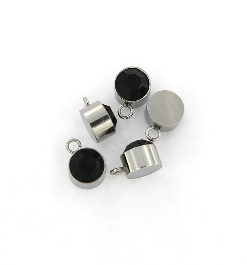 4 Black Birthstone Silver Tone Stainless Steel Charms - MT465