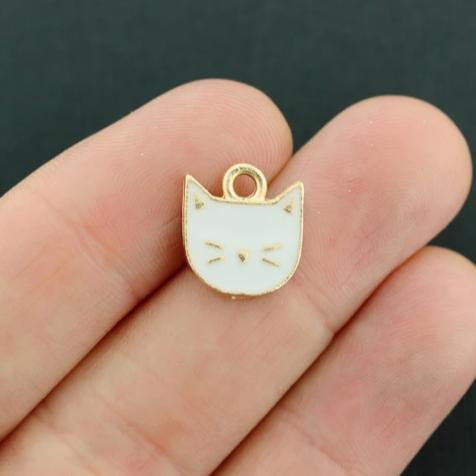 4 Cat Gold Tone Enamel Charms - E171