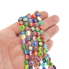 Flat Round Glass Beads 8mm x 4mm - Assorted Floral Millefiori - 1 Strand 52 Beads - BD2398