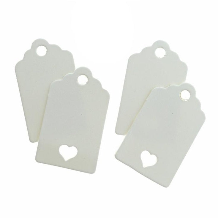 50 Paper Tags With Heart Cutout - TL072