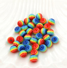 Round Resin Beads 8mm - Rainbow Stripe - 50 Beads - BD004