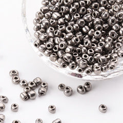 Seed Glass Beads 6/0 4mm - Silver - 50g 600 Beads - BD1300