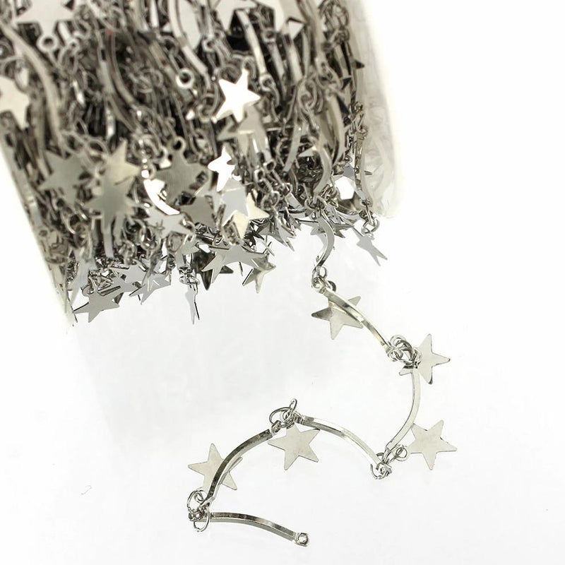 BULK Silver Tone Star Chain - Choose Your Length - 1ft to 32ft - 1mm - CH058
