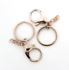 Rose Gold Tone Key Rings with Lobster Clasp and Attached Chain - 67mm x 30mm - 4 Pieces - Z706