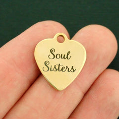 Friendship Gold Stainless Steel Charm - Soul Sisters - Exclusive Line - Quantity Options - BFS765GOLD