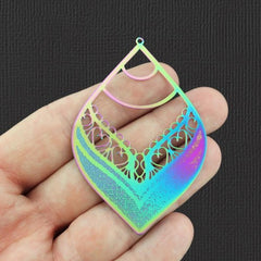2 Teardrop Rainbow Electroplated Stainless Steel Charms - SSP103