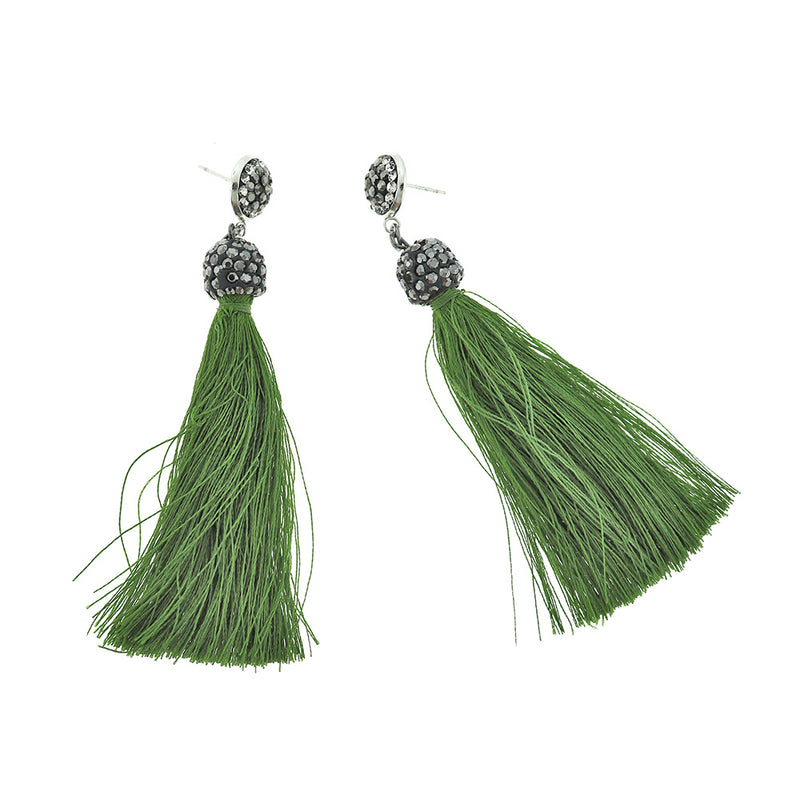 2 Tassel Earrings - Stud Base Style - 1 Pair - Z1205