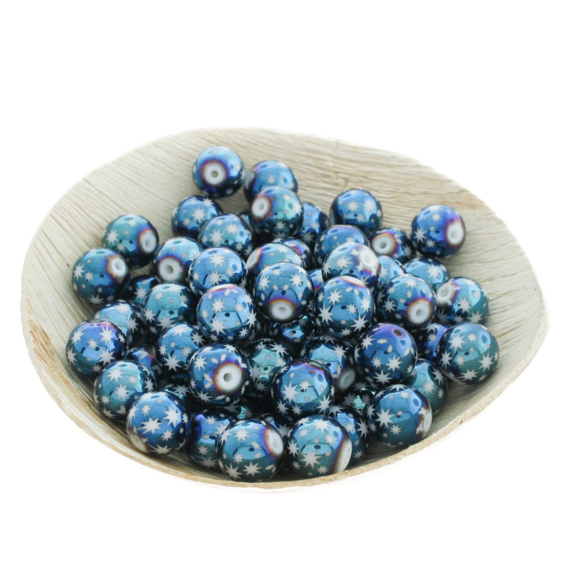Round Glass Beads 10mm - Electroplated Blue Star Pattern - 20 Beads - BD106