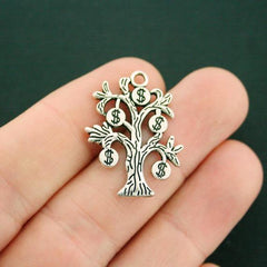 5 Money Tree Antique Silver Tone Charms - SC7522