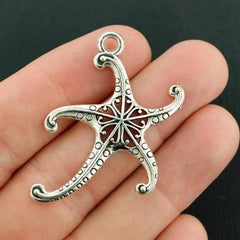 5 Starfish Antique Silver Tone Charms - SC7844