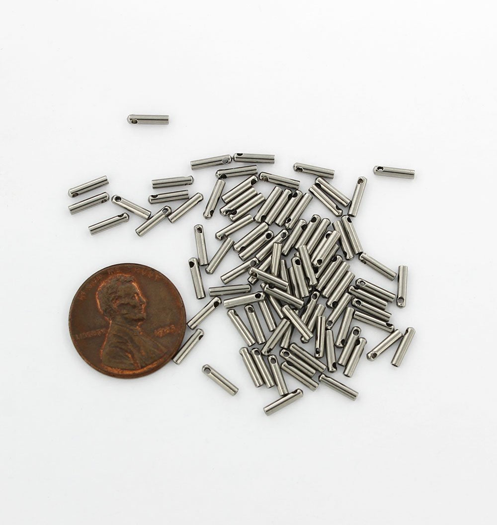 UNICRAFTALE 50pcs Column End Caps Stainless Steel Cord Ends 5mm Inner Diameter Smooth End Caps Terminators Cord Finding for Jewelry Making Kit Stainless Steel Color
