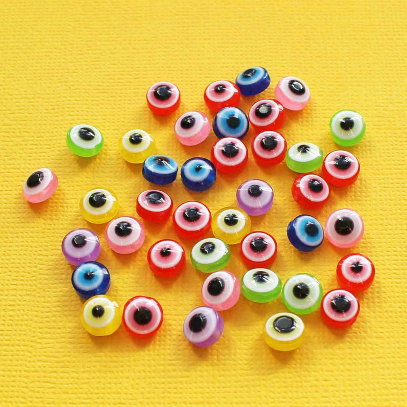 Flat Round Resin Beads 8mm x 5mm - Assorted Rainbow Evil Eye - 50 Beads - BD126