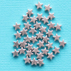 Star Spacer Metal Beads 6mm x 3mm - Silver Tone - 50 Beads - SC4515