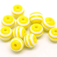 Round Resin Beads 8mm - Sunshine Yellow and White - 50 Beads - BD331