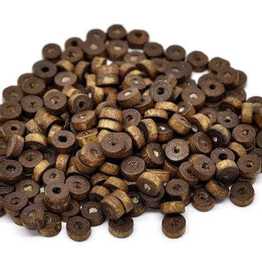 Flat Round Natural Wood Beads 8mm - Dark Brown - 50 Beads - BD680