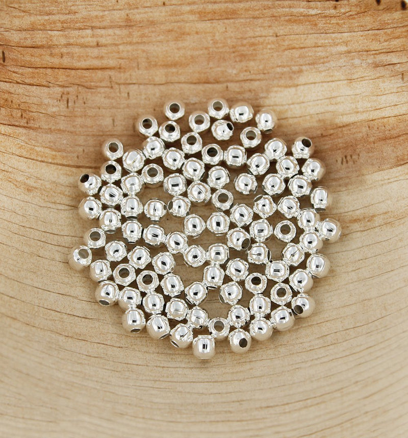 Spacer Metal Beads 4mm x 4mm - Silver Tone - 500 Beads- FD232