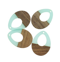 Drop Natural Wood and Resin Charm - Z1022