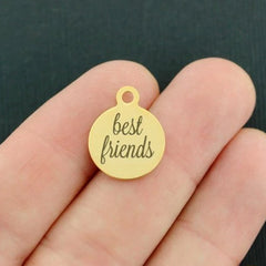 Friendship Stainless Steel Charm - Best Friends - Smaller Size - Exclusive Line - Quantity Options - BFS3685GOLD