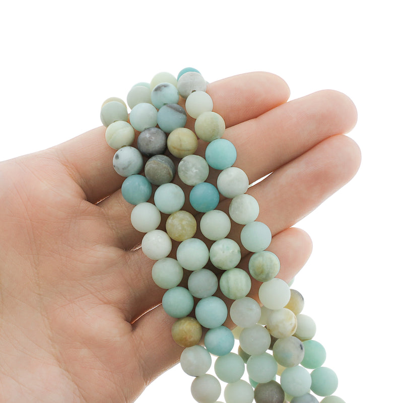 Round Natural Amazonite Beads 8mm - Frosted Blues and Earth Tones - 1 Strand 47 Beads - BD1336