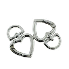 Silver Tone Swivel Heart Clasp Key Rings - 47mm x 32mm - 2 Pieces - FD840