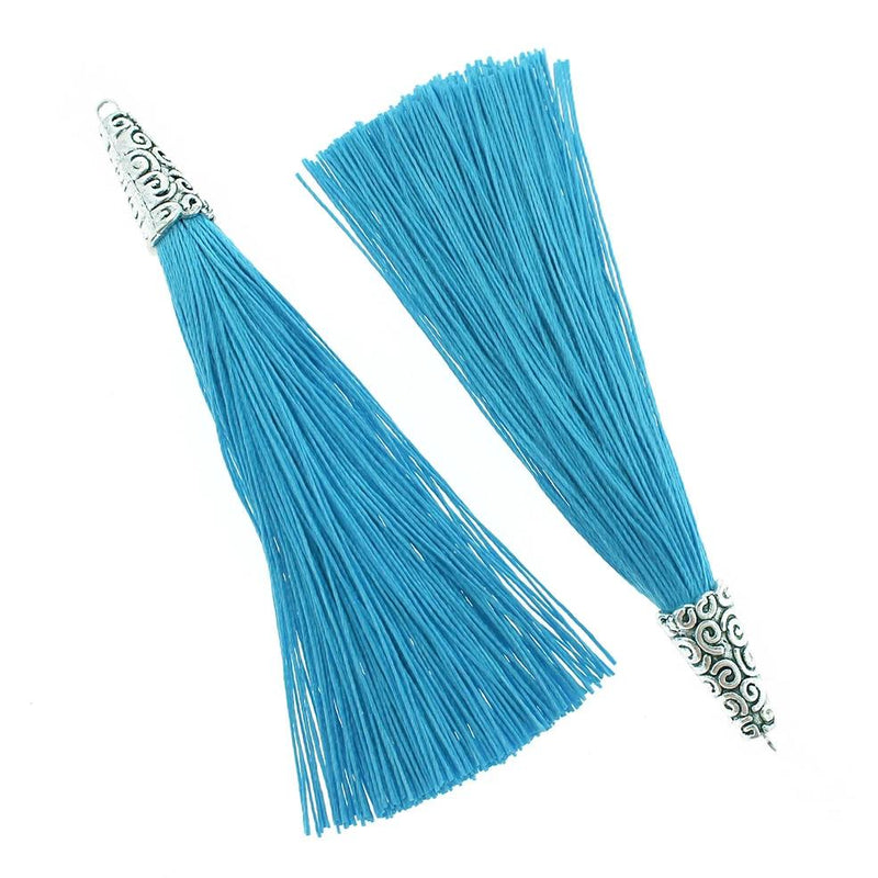 Polyester Tassel with Cap - Sky Blue and Silver Tone - 4 Pieces - TSP012