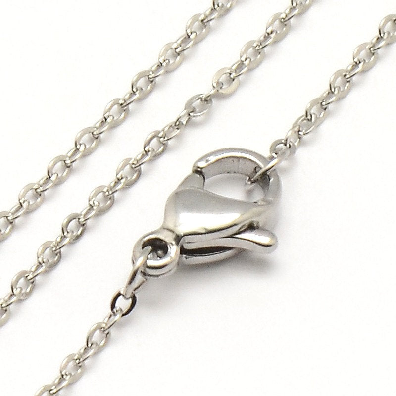 "Stainless Steel Cable Chain Necklace 18""  1.5mm - 5 Necklaces - N111"