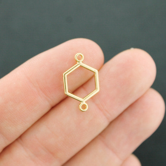 6 Honeycomb Connector Gold Tone Charms 2 Sided - GC018