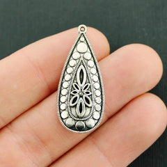 4 Teardrop Antique Silver Tone Charms - SC170