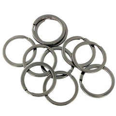 Gunmetal Tone Key Rings - 25mm - 10 Pieces - Z684