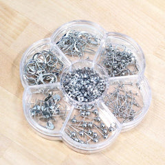 Jewelry Making Starter Kit - Assorted Styles of Earring Wire Hooks in Handy Storage Box - 260 pieces - 7 Different Jewelry Basics - Silver Tone - STARTER27