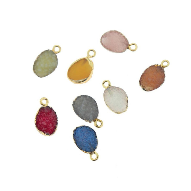 4 Assorted Oval Druzy Gold Tone Resin Charms - K383