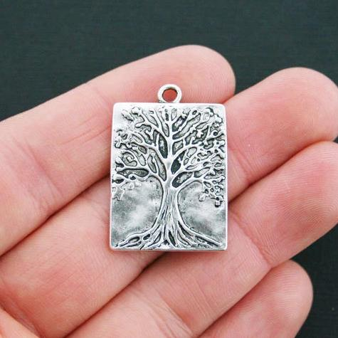 4 Tree of Life Antique Silver Tone Charms - SC4479