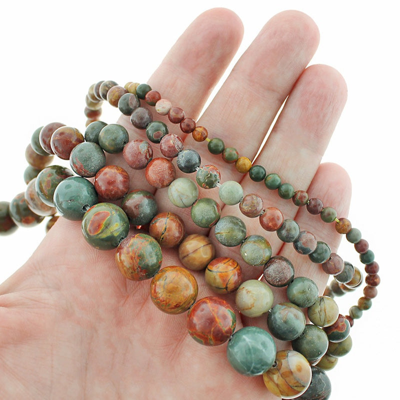 "Round Natural Picasso Jasper Beads 4mm - 12mm - Choose Your Size - Burgundy Earth Tones - 1 Full 15.5"" Strand - BD1828"