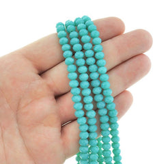 Faceted Glass Beads 6mm x 4mm - Aquamarine - 1 Strand 98 Beads - BD214