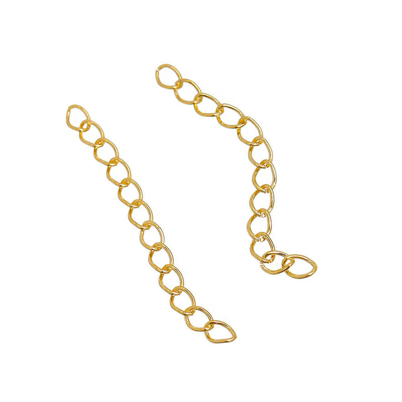 Gold Tone Extender Chains - 50mm x 4.0mm - 50 Pieces - FD498
