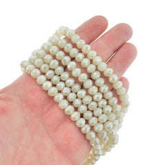 Faceted Glass Beads 8mm - Creamy White - 1 Strand 71 Beads - BD1970