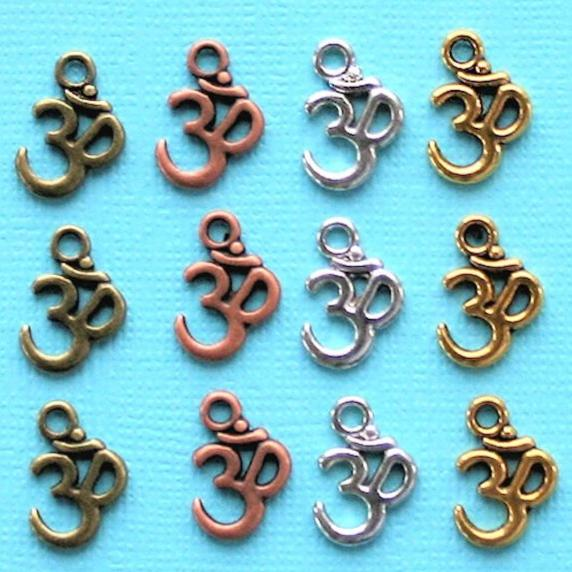 OM Charm Collection Antique Silver Bronze Copper and Gold Tone 12 Charms - COL222