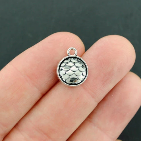 4 Mermaid Scale Antique Silver Tone Cabochon Charms - Z647
