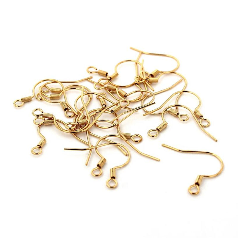 Gold Stainless Steel Earrings - French Style Hooks - 18mm x 20mm - 10 Pieces 5 Pairs - FD710