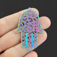2 Hamsa Hand Rainbow Electroplated Stainless Steel Charms - SSP147