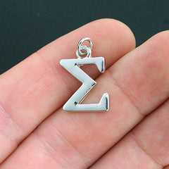 4 Sigma Greek Letter Antique Silver Tone Charms - SC4038