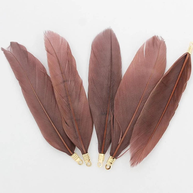 Feather Pendants - Gold Tone and Brown - 6 Pieces - Z700
