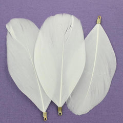 Feather Pendants - Gold Tone and White - 6 Pieces - Z704