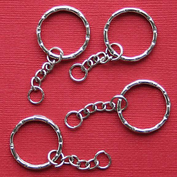 Silver Tone Key Rings with Attached Chain - 20mm - 6 Pieces - Z005